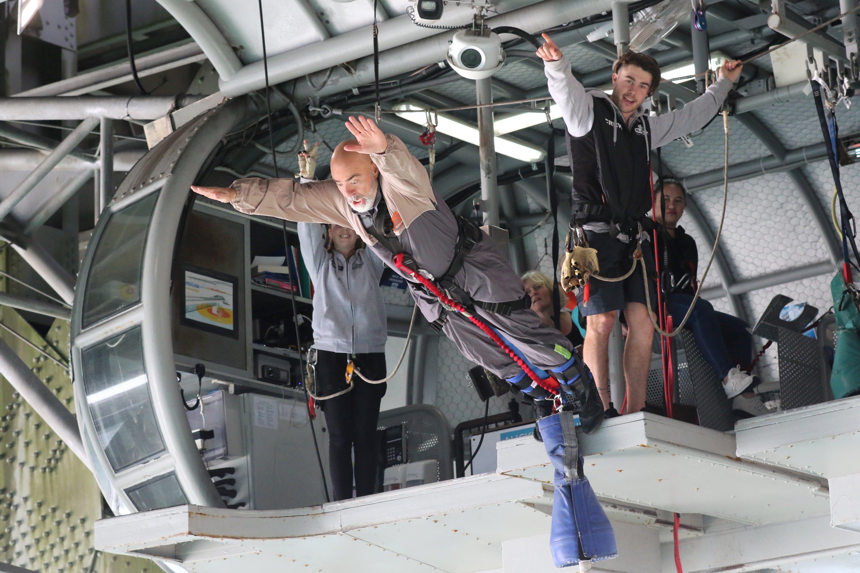 Steve doing a bungee jump off the Auckland Harbor Bridge, June 2018